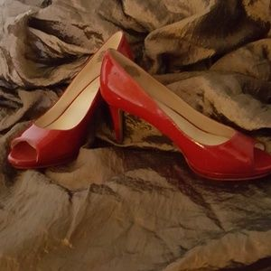 Nine West Red  Patent Leather Heels 7.5 W NEW
